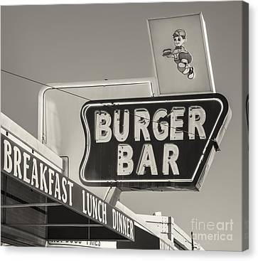 Burger Bar Bw Canvas Print by Jerry Fornarotto