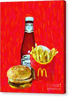 Burger Fries And Ketchup Canvas Print by Wingsdomain Art and Photography