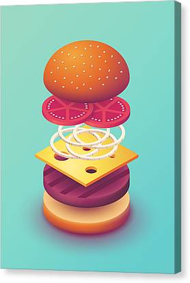 Hamburger Canvas Print - Burger Isometric Deconstructed - Mint by Ivan Krpan