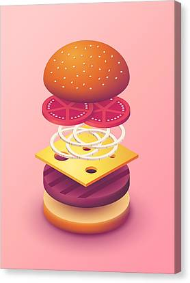 Hamburger Canvas Print - Burger Isometric Deconstructed - Salmon by Ivan Krpan