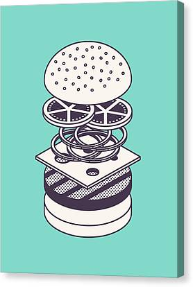 Burger Isometric Lineart Deconstructed - Mint Canvas Print