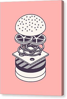 Burger Isometric Lineart Deconstructed - Salmon Canvas Print