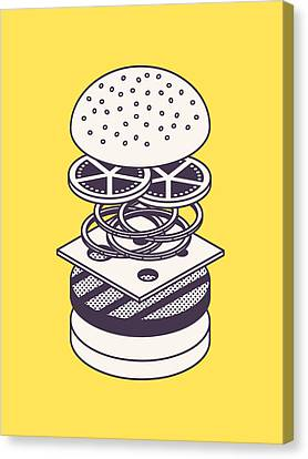 Burger Isometric Lineart Deconstructed - Yellow Canvas Print