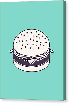 Burger Isometric Lineart - Mint Canvas Print