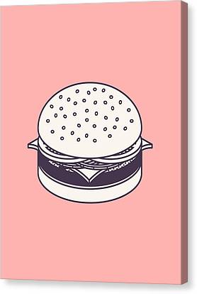 Burger Isometric Lineart - Salmon Canvas Print
