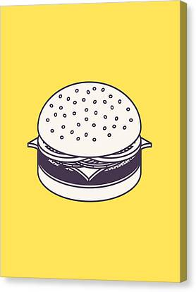 Burger Isometric Lineart - Yellow Canvas Print