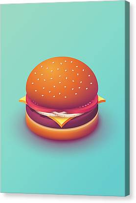 Burger Isometric - Plain Mint Canvas Print by Ivan Krpan