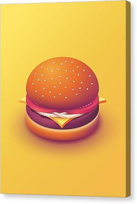 Hamburger Canvas Print - Burger Isometric - Plain Yellow by Ivan Krpan