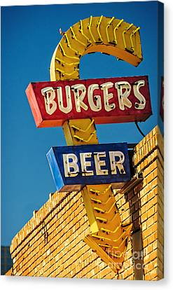 Burgers And Beer Canvas Print by Charles Dobbs