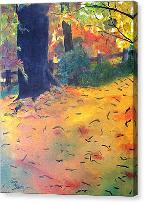 Canvas Print featuring the painting Buried In Autumn Leaves by Gary Smith