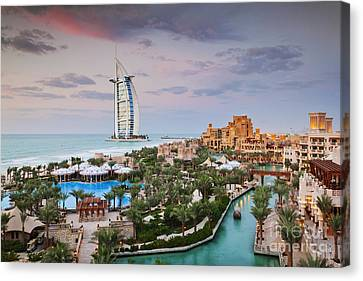 Burj Al Arab Hotel And Madinat Jumeirah Resort Canvas Print by Jeremy Woodhouse