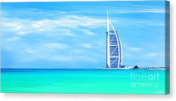 Burj Al Arab Hotel On Jumeirah Beach In Dubai Canvas Print