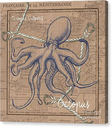Burlap Octopus Canvas Print by Debbie DeWitt