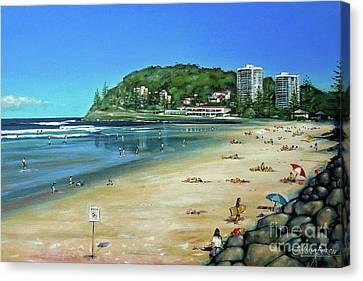 Canvas Print featuring the painting Burleigh Beach 100910 by Selena Boron