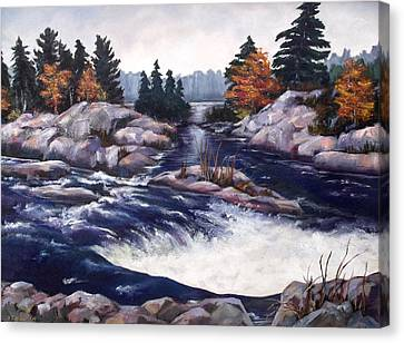 Canvas Print featuring the painting Burleigh Falls by Diane Daigle
