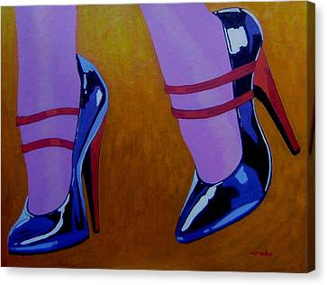 Burlesque Shoes Canvas Print by John  Nolan
