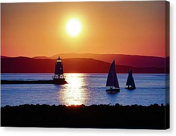 Burlington Breakwater Sunset Canvas Print