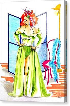 Burly-que Babe -- Portrait Of Burlesque Dancer Canvas Print by Jayne Somogy