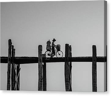 Burmese Man Crosses Ubein Bridge On Bicycle Myanmar Canvas Print