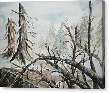 Canvas Print featuring the painting Burned Forest In The Snow by Ellen Levinson