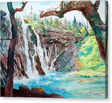 Canvas Print featuring the painting Burney Falls by John Norman Stewart