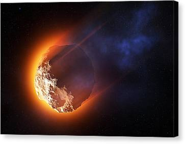 Burning Asteroid Entering The Atmoshere Canvas Print by Johan Swanepoel