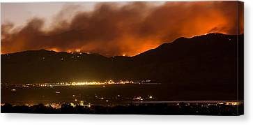 Burning Foothills Above Boulder Fourmile Wildfire Panorama Canvas Print by James BO  Insogna