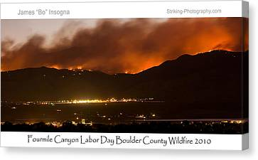 Burning Foothills Above Boulder Fourmile Wildfire Panorama Poster Canvas Print by James BO  Insogna