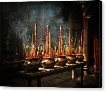 Canvas Print featuring the photograph Burning Incense by Lucinda Walter