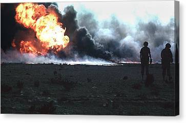 Burning Kuwaiti Oil Field Canvas Print