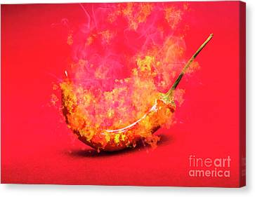 Burning Red Hot Chili Pepper. Mexican Food Canvas Print