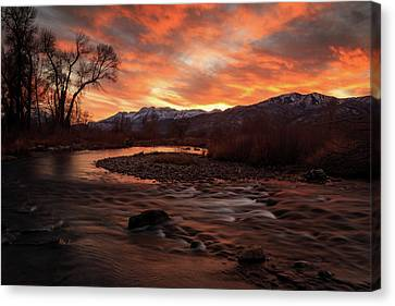 Canvas Print featuring the photograph Burning Sunset Above The Provo River. by Johnny Adolphson