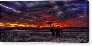 Burning Sunset The Iron Horse Canvas Print by Reid Callaway