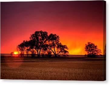 Burning Sunset Canvas Print by Thomas Zimmerman
