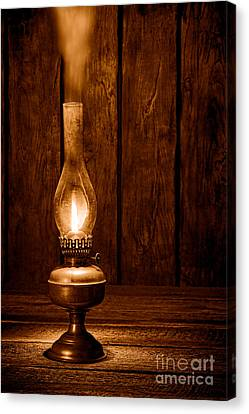 Burning The Midnight Oil - Sepia Canvas Print by Olivier Le Queinec