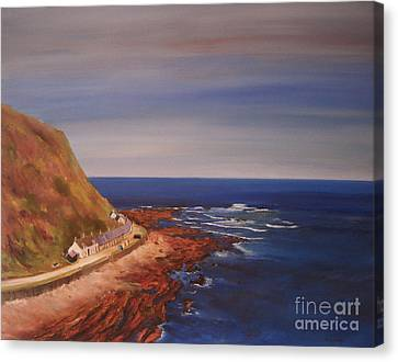 Canvas Print featuring the painting Burnmouth Scotland by Beatrice Cloake