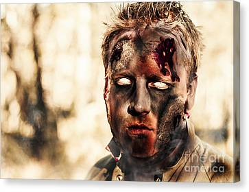 Burnt Zombie Standing In Smouldering Horror Forest Canvas Print by Jorgo Photography - Wall Art Gallery