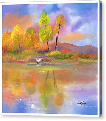 Canvas Print featuring the painting Burst Of Autumn by Sena Wilson