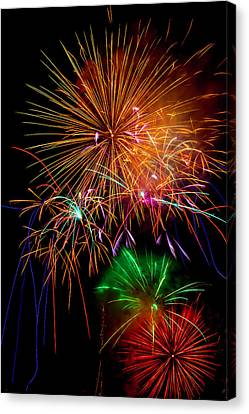 Pyrotechnic Canvas Print - Burst Of Bright Colors by Garry Gay