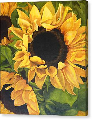 Canvas Print featuring the painting Burst Of Sunflowers by Sandra Nardone