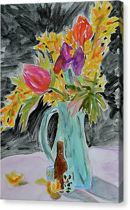 Canvas Print featuring the painting Bursting Bouquet by Beverley Harper Tinsley