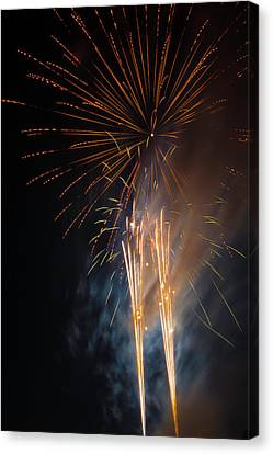 Bursting Colorful Fireworks Canvas Print by Garry Gay