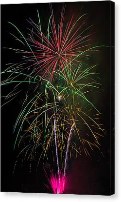 Bursting Fireworks Canvas Print by Garry Gay