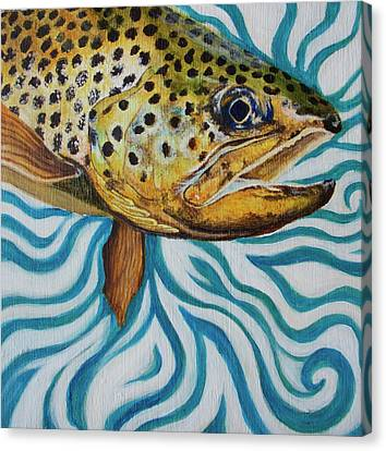 Trout Canvas Print - Burt The Butterstick by Lacey Hermiston