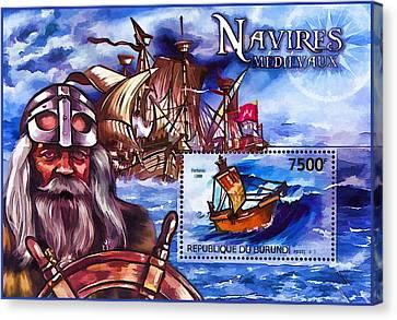 Transportion Canvas Print - Burundi 2012 Ships Medieval Navigators by Lanjee Chee