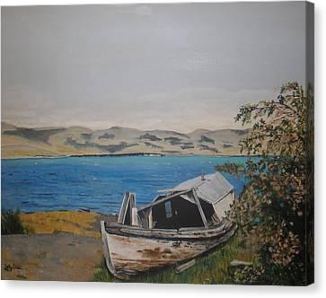 Canvas Print featuring the painting Burwash Landing Yukon by Betty-Anne McDonald