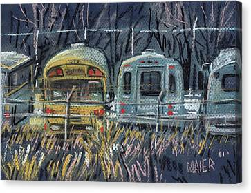 School Bus Canvas Print - Bus Parking by Donald Maier