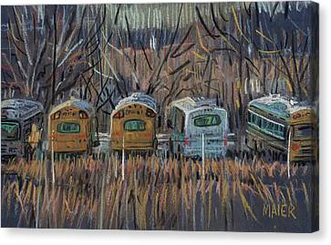 School Bus Canvas Print - Bus Storage by Donald Maier