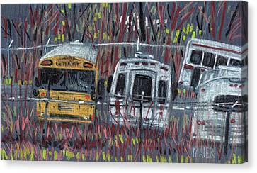 Bus Yard Canvas Print by Donald Maier