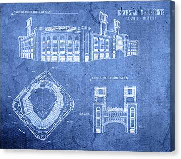 Busch Stadium St Louis Cardinals Baseball Field Blueprints Canvas Print